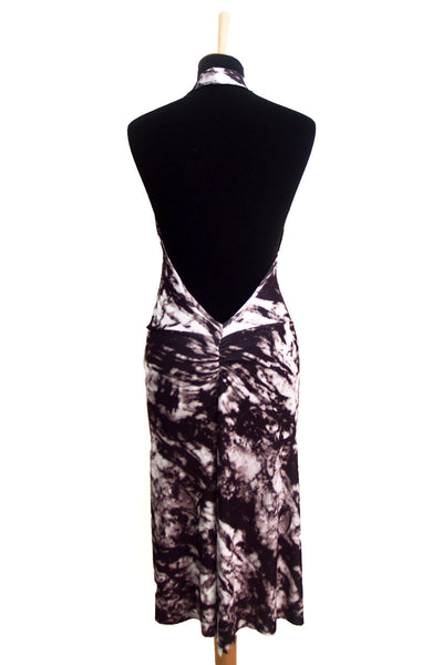 conDiva Black and White Dress with Draped Neck