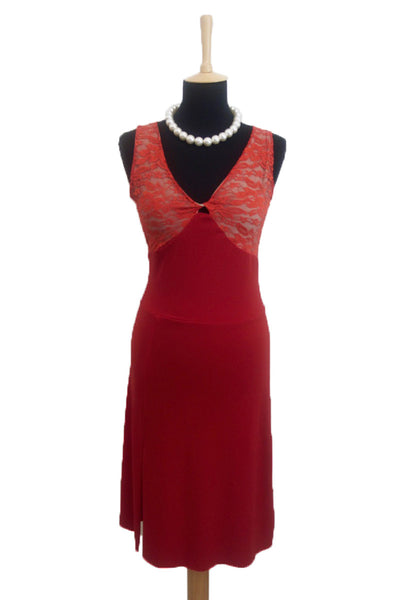 Red Tango Dress with Ruffles and Open Back