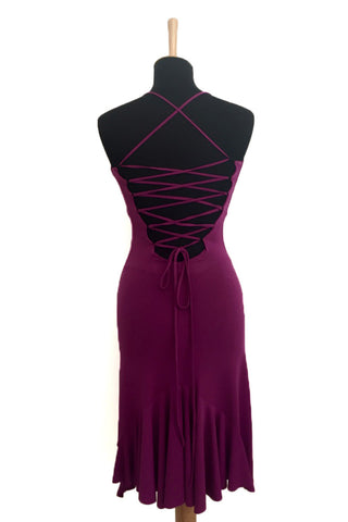 conDiva Dark Fuchsia Slitted Lace-up Milonga Dress