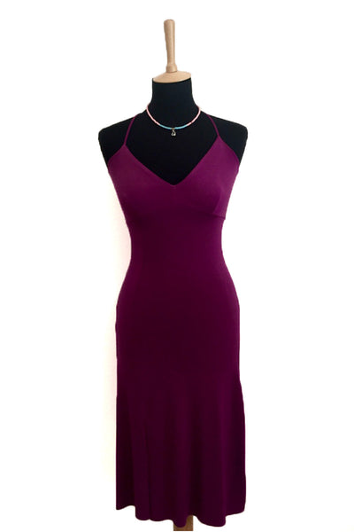 Dark Fuchsia Lace-up Milonga Dress