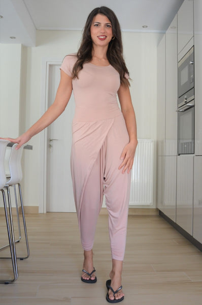 Nude Pink Viscose Wrap Harem Style Pants