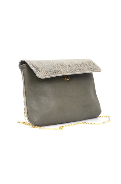 conDiva Olive Green Snake-print Shoulder Bag