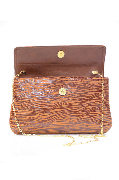 conDiva Brown Zebra-print Leather Bag