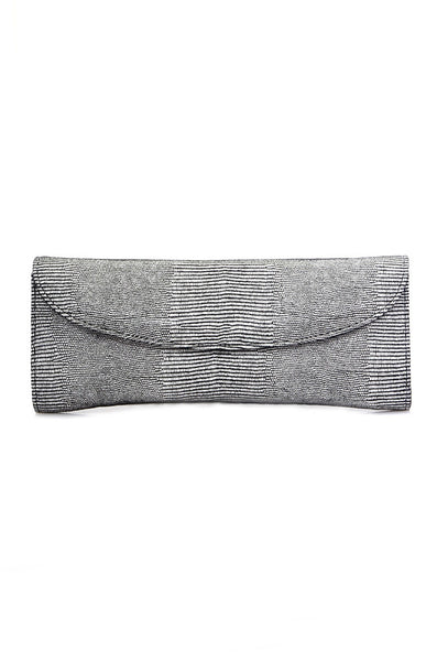 conDiva Black and White Leather Clutch