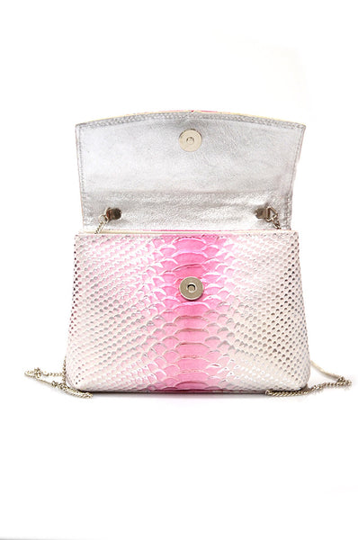 conDiva White and Pink Leather Shoulder Bag