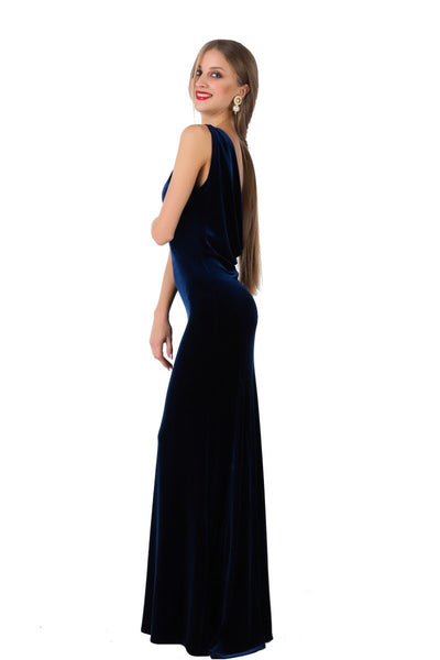 Velvet Evening Gown With Draped Back