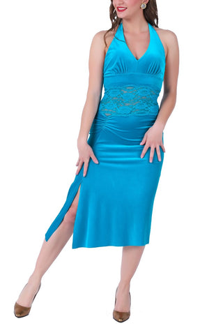 Turquoise Velvet Tango Dress with Lace Waist