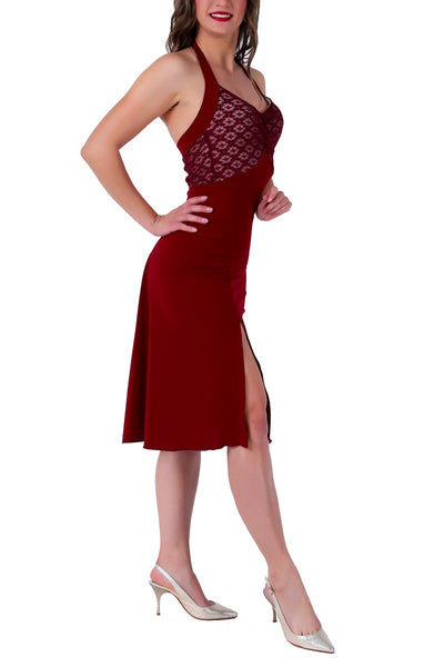 Burgundy Halter-neck Tango Dress with Lace Bust