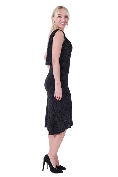Black Dance Dress with Draped Back
