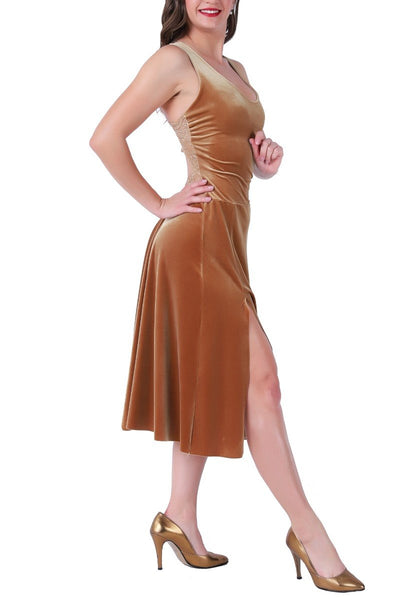 Dark Gold Velvet Tango Dress With Lace Back