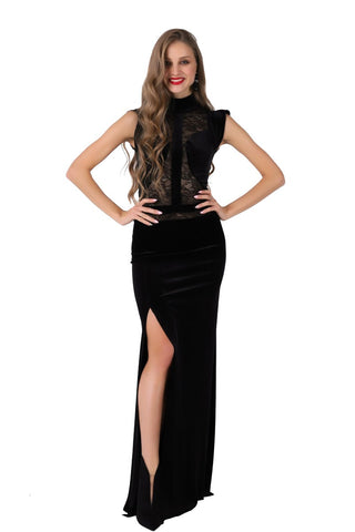 Velvet Floor-length Gown with Lace Top