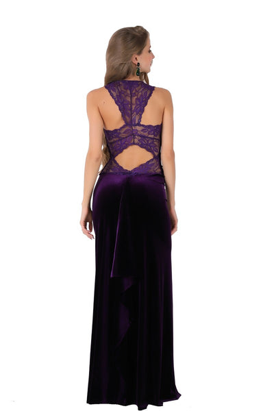 Purple Velvet Maxi Dress with Lace Back