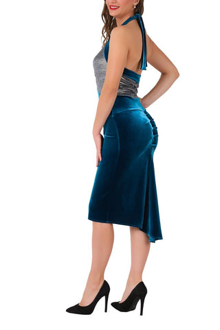 Petrol Blue Velvet Tango Dress With Fishtail Back