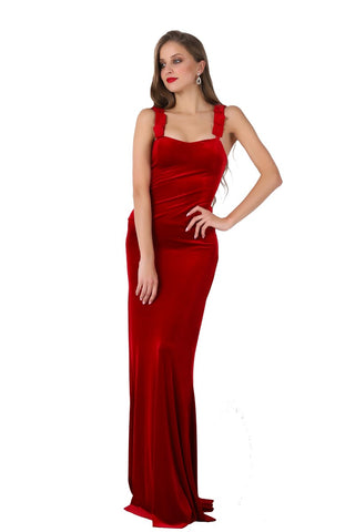 Satin Strapped Velvet Evening Dress