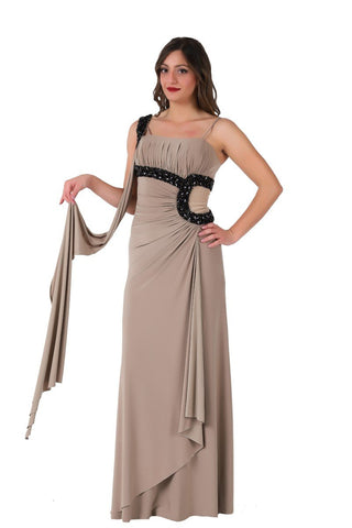 Dark Beige Dress with Stone Decoration