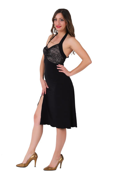 Halter-neck Tango Dress with Lace Bust