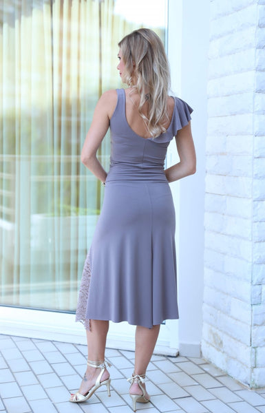 Tango Skirt with Left-side Lace Details - Elephant gray
