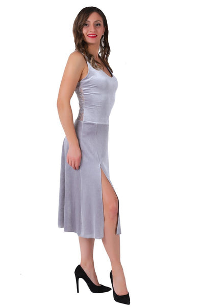 Silver Velvet Tango Dress With Lace Back