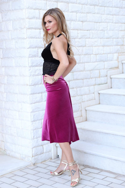 Fuchsia velvet tango skirt with gatherings and slits