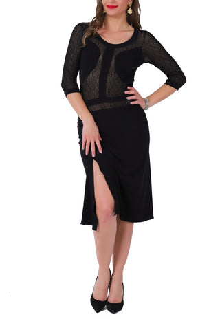 Elegant Black Tango Dress with Tulle