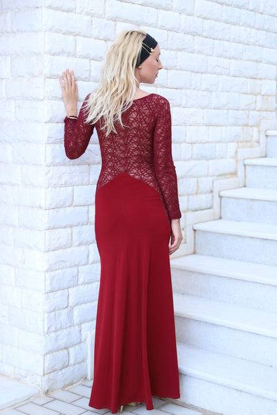 Burgundy Laced Maxi Dress