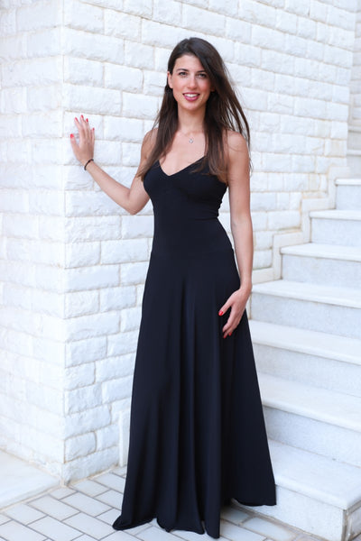 Maxi Thin-strapped Black Dress