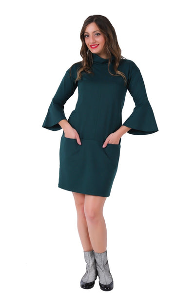 Turtle Neck Straight Casual Dress