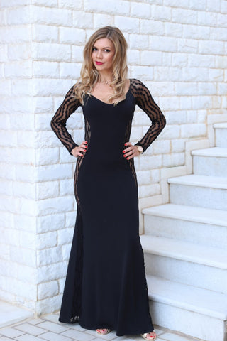 Black Laced Maxi Dress