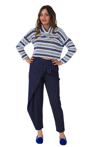 Stripped Dark Blue Casual Pants