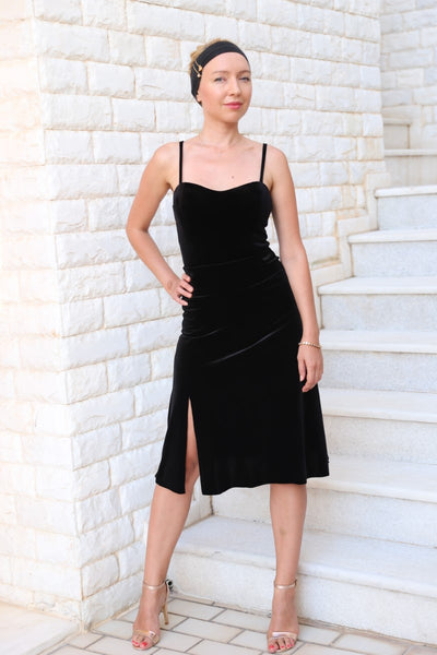 conDiva Black Velvet Milonga Skirt with Ruffles