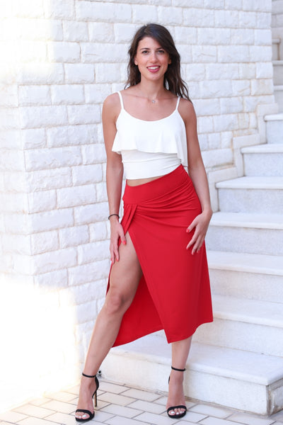 Red Wrap Tango Skirt With High Slit