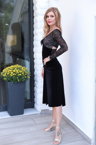 Black Velvet & Lace Tango Dress