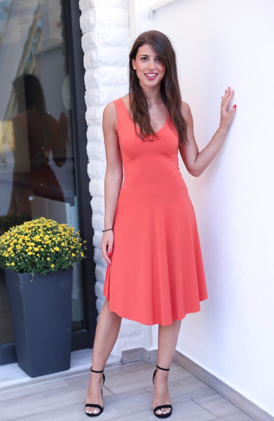 Tango Dress With Keyhole Cutout Coral