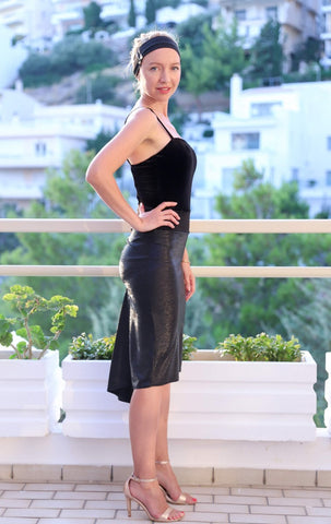 Black Metallic Fishtail Tango Skirt