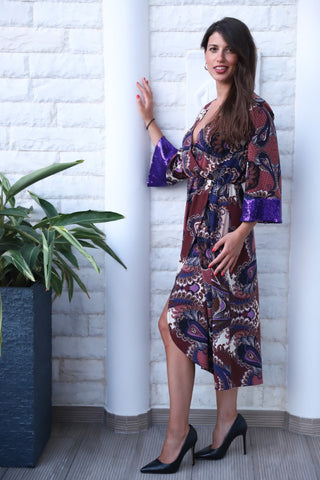 Paisley Print Wrap Effect Dress