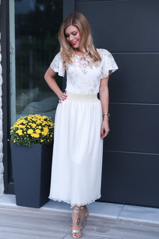 Off-white Pleated Tulle Skirt