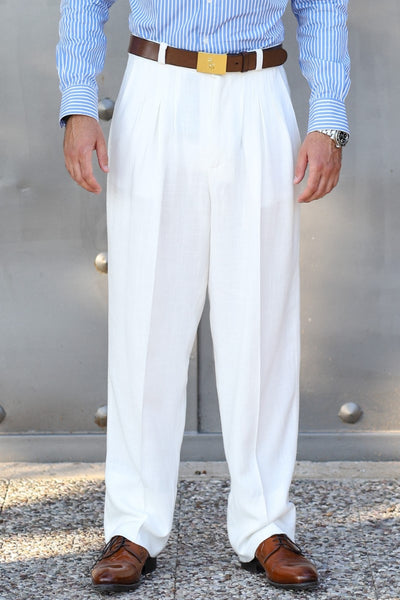 conSignore Men's Linen Tango Pants - off-white