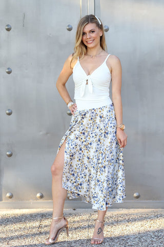 Floral Satin Asymmetric Dance Skirt