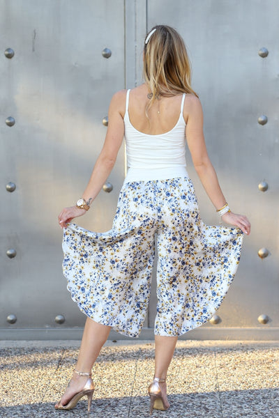 Tango Pants in White Floral Satin
