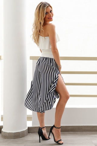 Georgette Striped Capri Pants