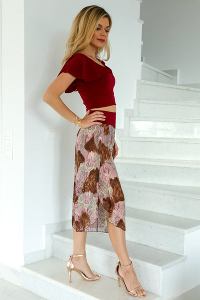 Georgette Abstract Print Capri Pants