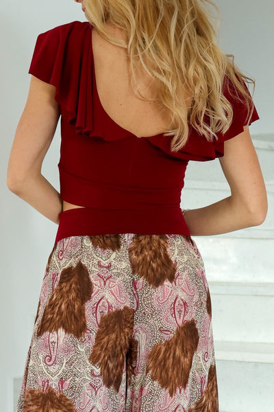 Burgundy Dance Top with Ruffles