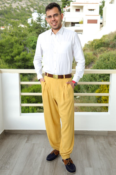 Mustard Yellow Linen Baggy Tango Pants