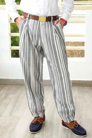 conSignore Grey Striped 100% Linen Baggy Tango Pants