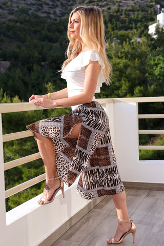 Satin Animal Print Capri Pants