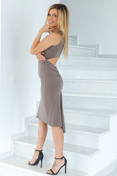 Elephant Grey Keyhole Back Fishtail Tango Dress