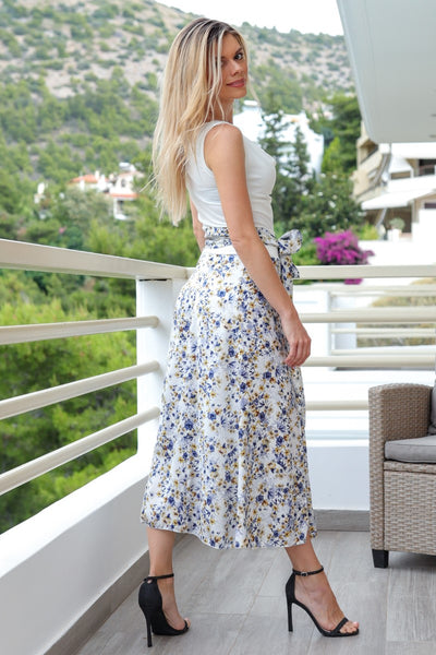 Floral Satin Midi Skirt With Slits