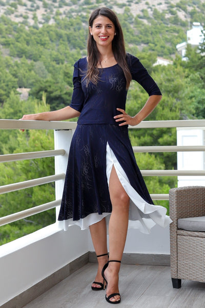 Two-Layered Dark Blue Lace Skirt