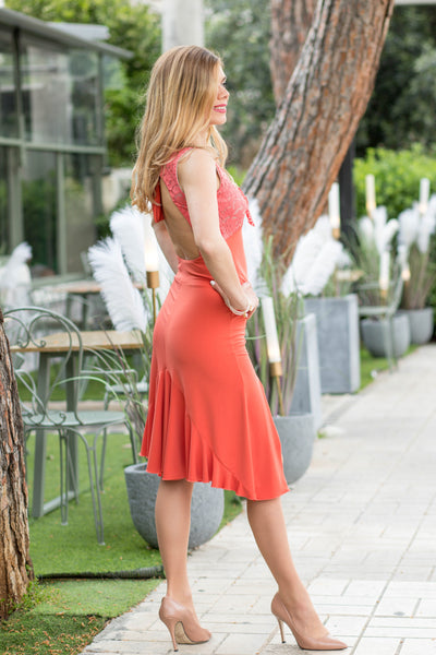 Tango Dress with Ruffles and Open Back