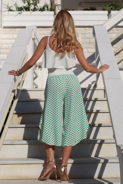 Green Polka Dot Capri Pants